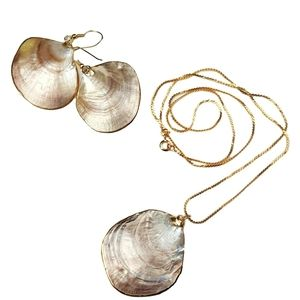 Jewelry - Exposed Mother of Pearl Shell Necklace Earring Set